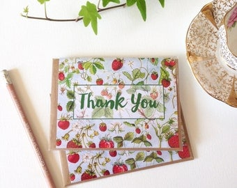 Thank You Note Card - A2 - Watercolour Strawberries Note Card with Envelope