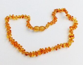 Baltic Amber Teething Necklace - Lemon Color - Rounded Chip Shaped Beads - Made in Canada