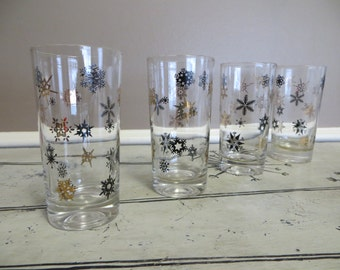 Vintage Drinking Glasses Snowflake Black and Gold Glasses Mad Men Glassware Mid Century Barware Vintage Barware