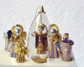 Kitsch 60s Angels, Lot of ten ornaments, 10 sparkly angel decorations