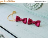 VALENTINES DAY SALE Ruby Satin Bows Gold Chain Ear Cuff (Pair)