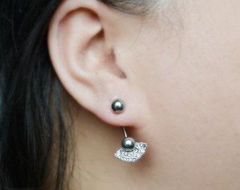 Gray Pearl Fan Ear Jacket Earrings