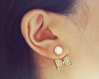Gold Crystal Bow Ear Jacket Earrings