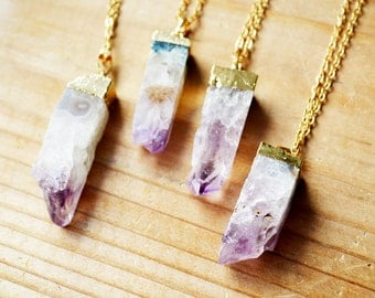 Amethyst Crystal Geode Necklace