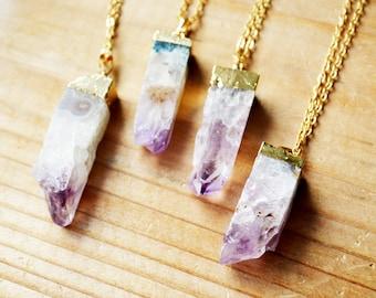 SALE Amethyst Crystal Geode Necklace