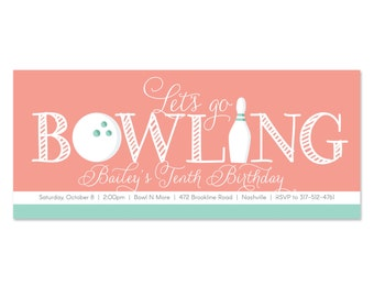 Birthday Bowling Invitations, Bowl Invites, Birthday Party Invitations for Girls Bowling
