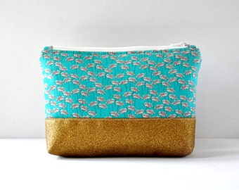 Woman's glitter gold base aqua green dandelion flower padded cosmetics travel make up pouch floral in large.