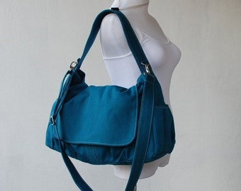 Back To School SALE 30% - Pico in Dark Teal (Water Resistant) Messenger Bag / Tote / Laptop Bag/ Handbag/Diaper Bag/ School Bag/ Women /For