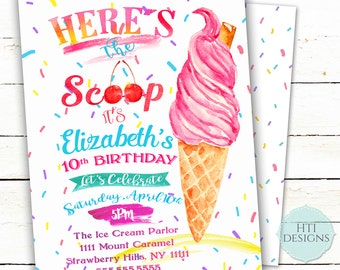 Ice Cream Invitation- Ice Cream Social- Birthday Party Invitation- Ice cream party-Summer party- Printable 5x7