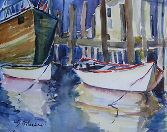 Boats Gloucester Harbor Watercolor Painting  Original Watercolor Seascape New England Fishing Harbor  CarlottasArt Carlie Degaetano