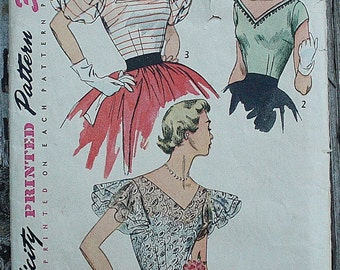 Simplicity 3840 1950s 50s Flutter or Puff Sleeve V Neck Blouse Shirt Vintage Sewing Pattern Size 16 Bust 34