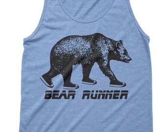 Bear Runner Tri-Blend Tank - Marathon Tank Running Runner Tanks - Matching Tanks Tops Shirts - Mens Womens Unisex TankTops Bear Tees