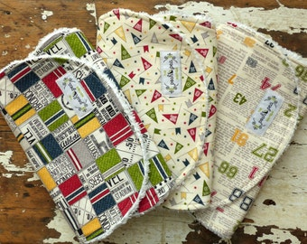 CHOOSE Baby Bibs OR Burp Cloths - Boy Set of 3 - Varsity Game Time, Spirit Flags and Sports Column