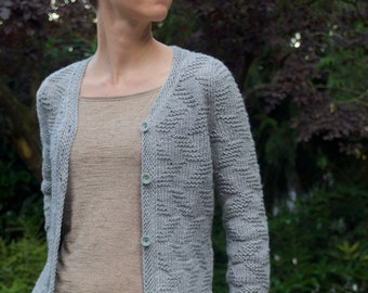 Escalier Textured Cardigan Sweater PDF Knitting Pattern