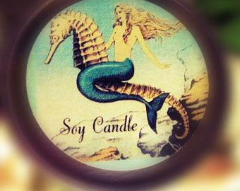 Mermaid Soy Candle ~ Massage Lotion Candle ~ All Natural Organic Scented Candle From Distracting Me