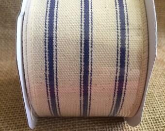 "Blue stripe Ribbon 2.5"" x 15ft Nautical summer navy spring wedding  wreath"