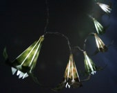 Sale-flower string light-LED string light-origami lilies lights-ready to ship-origami light-light green