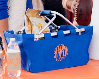 Monogrammed Royal Blue Market Tote, Monogrammed Royal Blue Market Basket, Royal Tailgating Tote, Royal Game Day Tote, Reusable Eco Tote