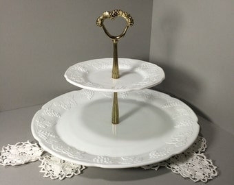 Milk Glass Two Tier Server, Cake Stand, Large Heavy Stand Candy, Cookie, Dessert, Cupcake, Hors d'oeuvres, Sandwich Plate, Serving Plate, We