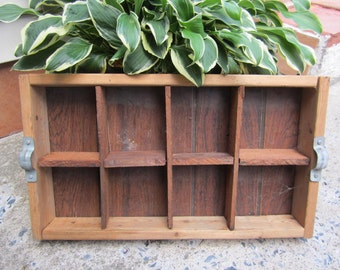 Divided Wood Crate Box with 8 Dividers Tool Box Carrier Cubbies Organizer Rustic Farmhouse Seed Pack Storage