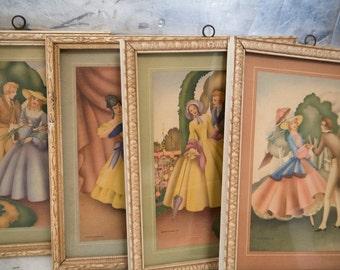 Vintage Framed Art Morris & Bendien Sandre Litho Print Victorian Women Couples Set