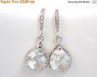 SALE Clear Earrings, Glass Earrings, Crystal, Silver, Wedding Jewelry, Bridesmaid Earrings, Bride Earrings, Bridal Earrings, Cubic Zirconia