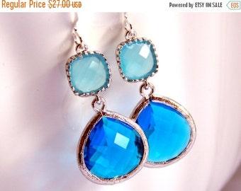 SALE Blue Earrings, Glass Earrings, Silver Earrings, Sapphire Earrings, Aquamarine, Light Blue, Ocean Blue, Bridesmaid Earrings, Bridesmaid