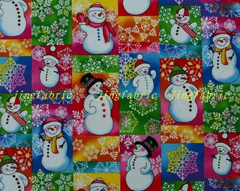 C313 - 135cmx100cm Hot silver Cotton Fabric - patch, snowman and snowflower