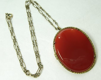 1920s Art Deco Necklace Genuine Carnelian 800 Silver Gilt Pendant on Gold Filled Chain Edwardian Necklace