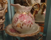 Shabby chic LEFTON small white with pink cabbage rose pitcher and bowl
