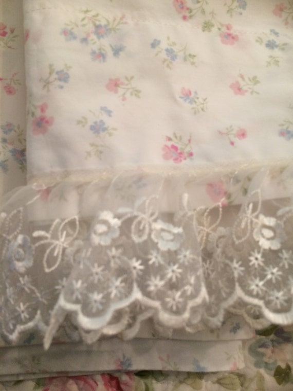 Shabby Chic Woodrose Pillowcases : A pair standard pillowcases so shabby chic pastel flowers