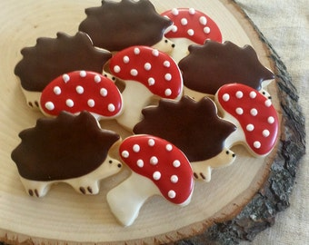 Little Hedgehog and Mushroom Cookies - Mini Woodland Sugar Cookies - 2 1/2  Dozen Cookies