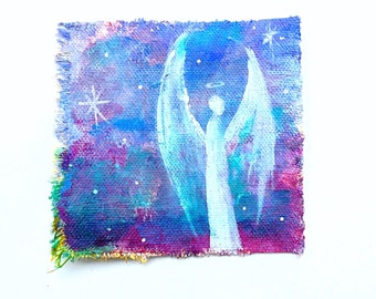 Guardian angel galaxy original painted canvas patch