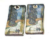 Unusual Van Gogh Ceramic Earring Charms Pair Rustic Stoneware Pottery