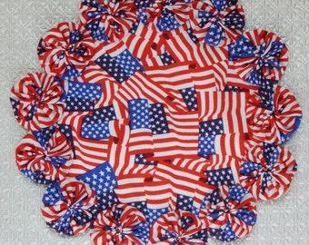 US Flag Print Yo Yo doily