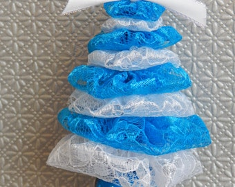 White and Turquoise Blue Lace Tree Ornament