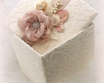 Baby Keepsake Box, Ivory, Blush, Tan, Beige, Champagne, Girl Keepsake Box, Memory Box, Girl, Baby,Baptism, Crystals, Vintage, Elegant