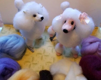 Handmade Needle Felted Poodle with Collar and Leash...order custom color