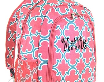 Personalized Coral Geometric Backpack - Girls Booksack - Full Size School Backpack Monogrammed Free