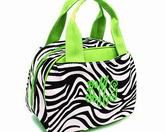 SALE Personalized Zebra Lunch Tote Insulated Zebra and Lime Green