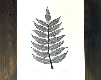Limited Edition Linocut - Block Printed Leaves Art Print