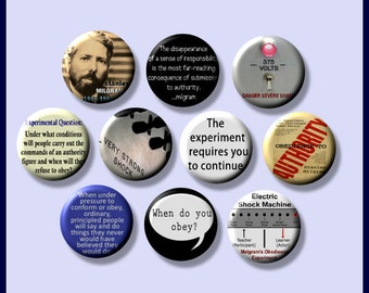 """MILGRAM Stanley Psychology obedience, compliance, conformity How Far Would You Go? 10 Hand Pressed Pinback 1"""" Buttons Badges Pins"""