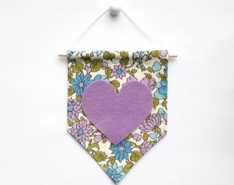Mini Banner with Vintage Floral Print Fabric and Light Purple Felt Heart