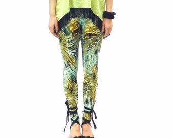 ON SALE Jungle print leggings in shades of green yellow and brown - made to order in size S M L Xl Xxl
