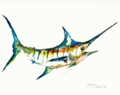 "Marlin Watercolor Original, 11x15"" painting, Gift Present Idea, Colorful Detail, Bright Artwork, Fish, Ocean, Bay, Sea, Aquatic Gifts, Blue"