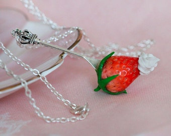 Strawberry necklace - Realistic Strawberry Pendant - Sweet Food Necklace - Clay Food Necklace -  Kawaii necklace - Food Jewelry
