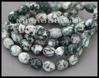"16"" Strand - 10mm GREEN Tree AGATE Oval Barrel Gemstone Beads - 10x8mm Genuine Natural semi precious Opaque Grade B - Instant Ship USA  6796"