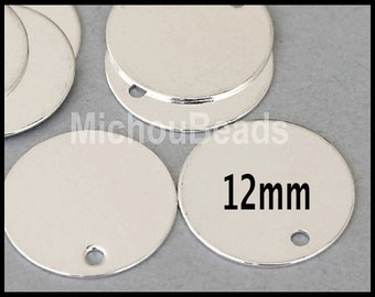 BULK 100 SILVER 12mm Drops - Flat Round Blank STAMPING Disc Charm - Stamping Findings / Pendant / Coin - Instant Ship - Usa Wholesale - 5388