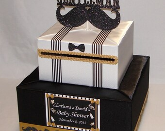 Little Gentleman/Mustache theme Baby Shower/Birthday Card Box-any color