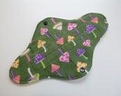 10 inch teen size petite Retro Rags cloth menstrual or mama pad - medium absorbency - medium flow - green mushroom flannel - made to order